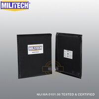 MILITECH Ballistic Plate 10x12 SC Cut NIJ 0101.06 IIIA 3A NIJ 0115.00 Level 2 Stab Resistant Aramid Soft Bulletproof Panel Pair