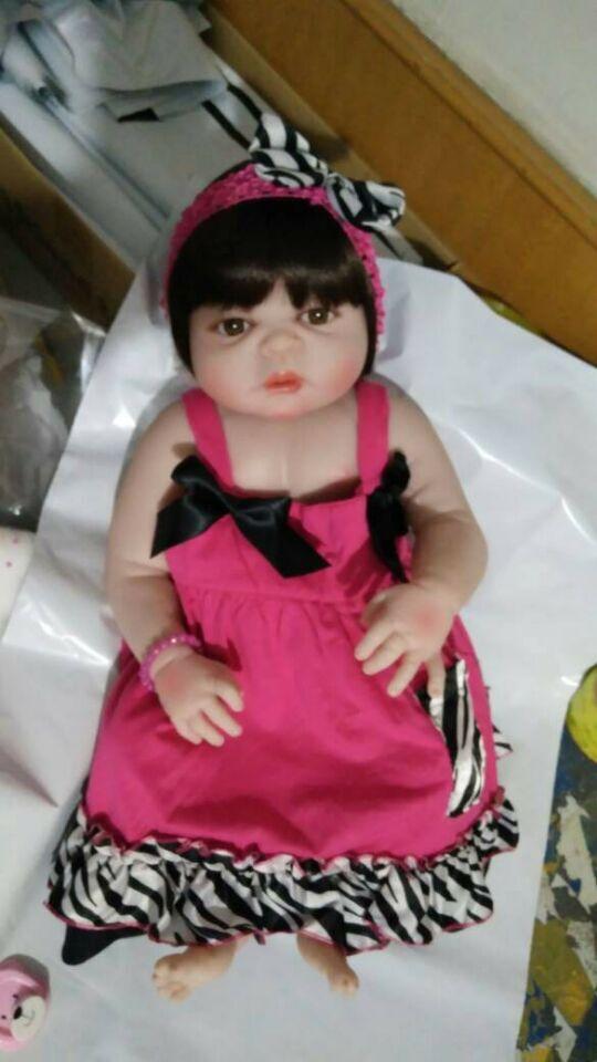 Newborn Doll 23 57 cm Realistic Reborn Girl Doll Full Silicone Body Baby Doll For Kid Holiday Gift Birthday Present Bath Toy