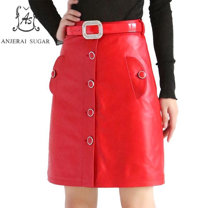 Automne Réel en peau de mouton Véritable en cuir jupes femmes noir et rouge sexy ceinture bouton mince Paquet hanche OL bureau femelle A-ligne jupe