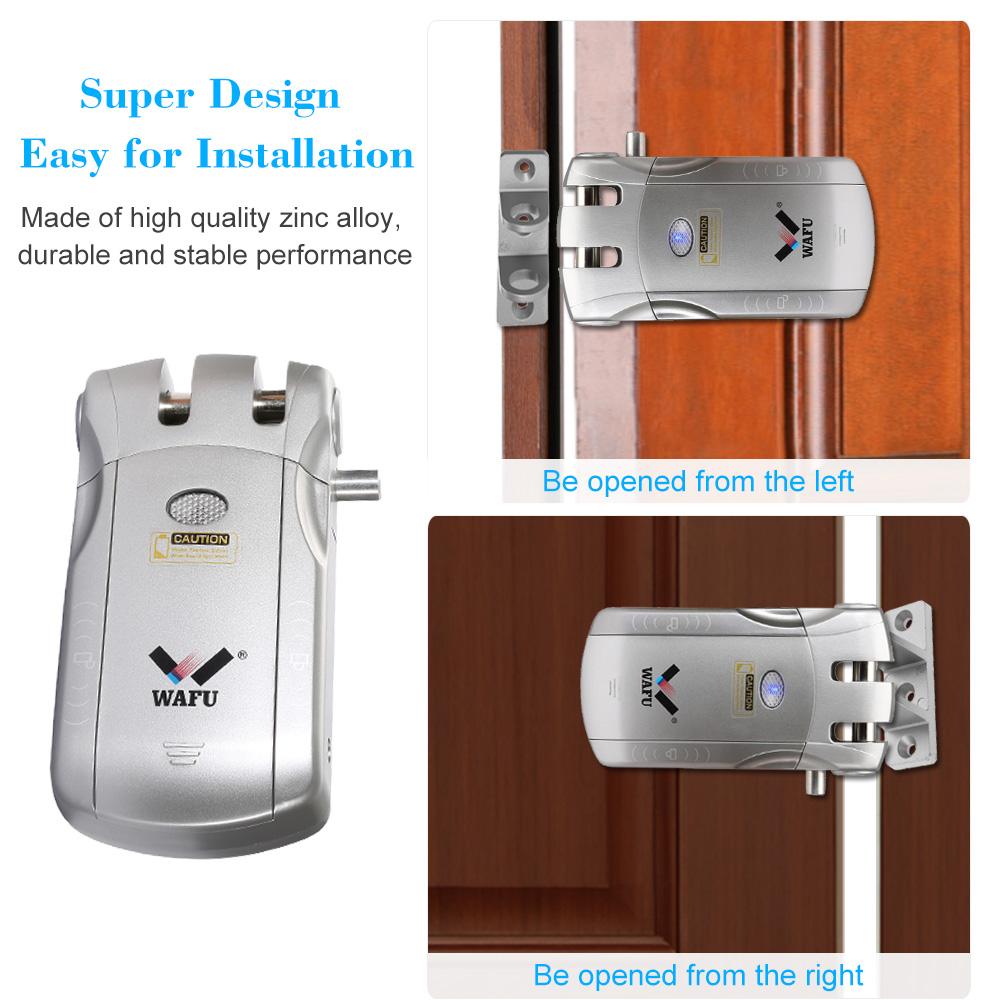 Image 3 - WAFU 010U Wireless Security Invisible Keyless Entry Door Intelligent Lock iOS Android APP Unlocking with 4 Remote Keys-in Electric Lock from Security & Protection