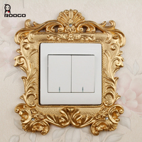 Roogo golden 3d switch panel sticker Luxury fashion royal decoration home accessories resin socket set wall stickers