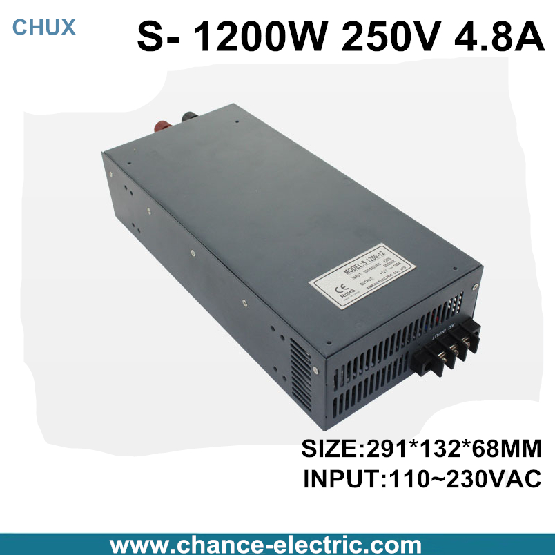 switching power supply 250V 4.8A 1200W 110~220VAC  single output input  for cnc cctv led light(S-1200W-250V) switching power supply 15v 66a 1000w 110 220vac single output input for cnc cctv led light s 1000w 15v