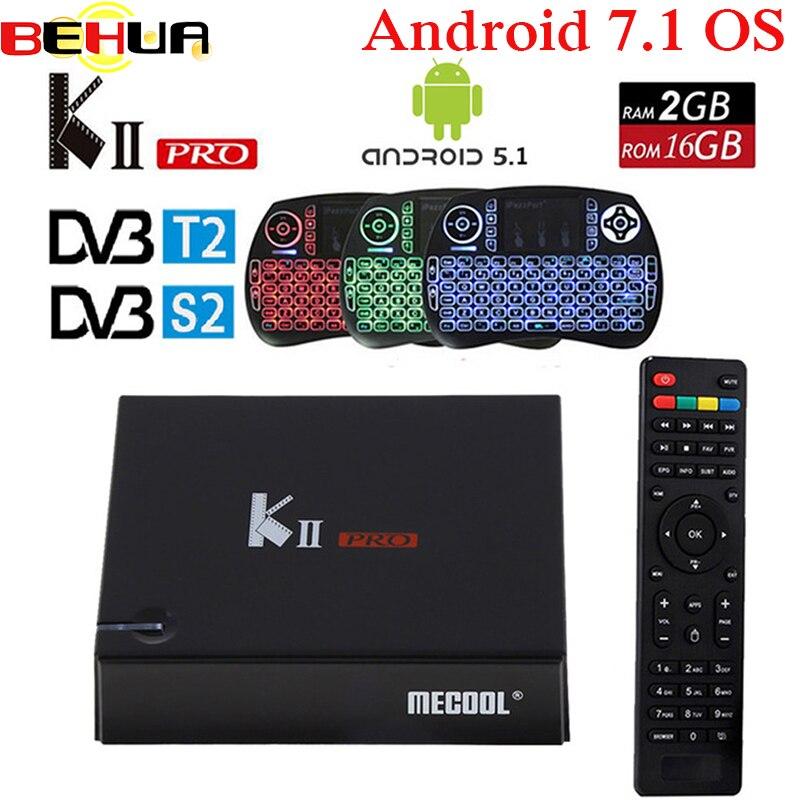 KII PRO DVB-S2 DVB-T2 S905d Android 7.1 smart Tv Box Quad Core 2 GB 16 GB K2 pro DVB S2 T2 4 K Media player Set Top Box + clavier