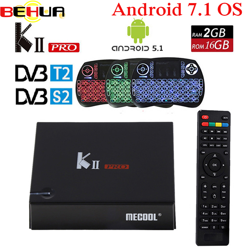 KII PRO DVB-S2 DVB-T2 S905d Android 7.1 smart Tv Box Quad Core 2GB 16GB K2 pro DVB S2 T2 4K Media player Set Top Box+ keyboard цена