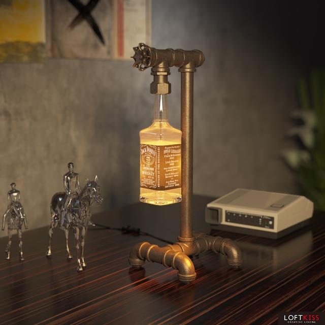 Jack Daniel Bottle Table Lamp Vintage Bar Restaurant Glass