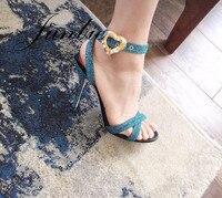 JUNBIE Новый Slik Jewel Кристалл Туфли с ремешком и пряжкой Для женщин Лето Atumn сандалии пикантные туфли с открытым носком Для женщин обувь на тонко