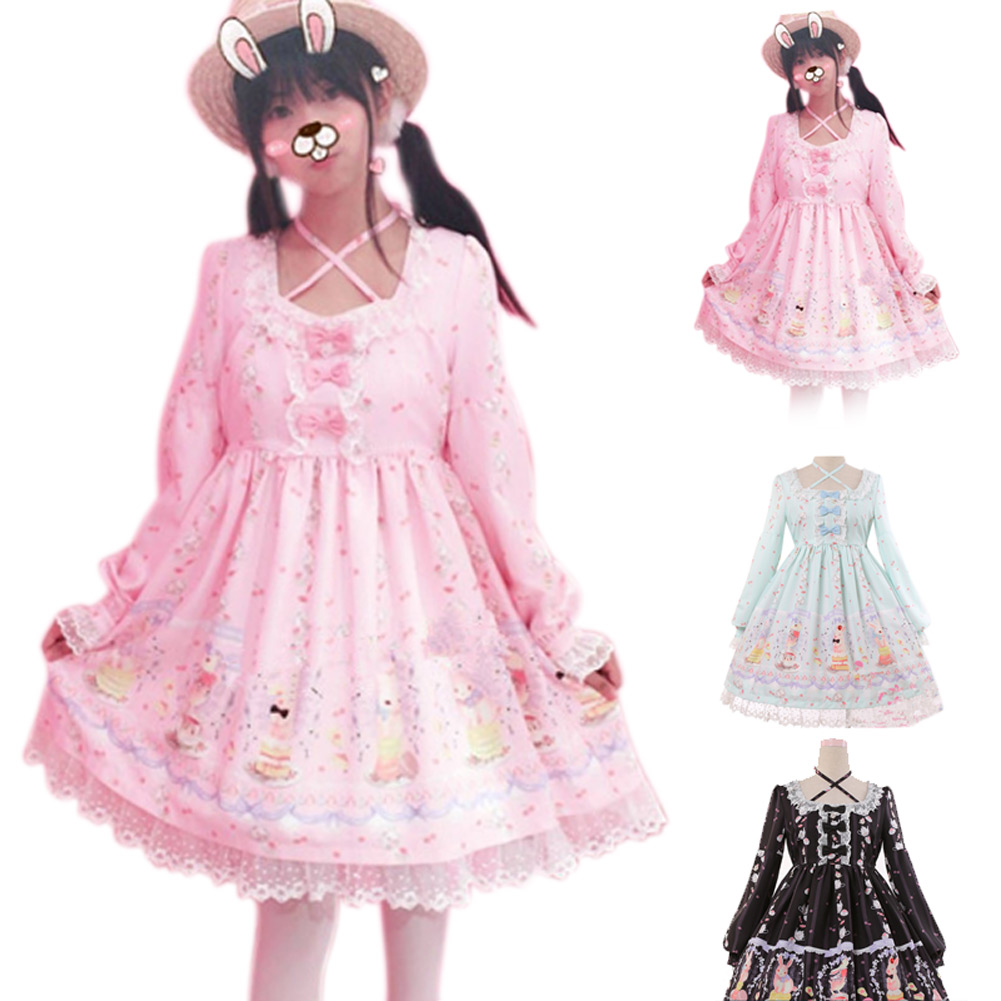 Cute Girls Sweet Princess Dress Bandage Lace Ball Gown Pleated Costume Dresses Cosplay for Lolita Cinderella FS99