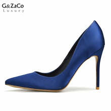 G&Zaco Luxury High Heels Shoes Thin Satin Female Pumps Sexy Silk Pointed Toe Heels Spring Elegant High-heeled Shoes Blue Color