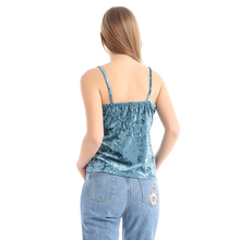 Tank Top Women Velvet Embroidery Camisole Vest V Neck Bustier Loose Backless Summer Sleeveless Sexy Strappy Camis Tops