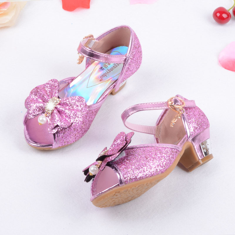 Enfants 2016 Children Princess Sandals Kids Girls Wedding Shoes High Heels  Dress Shoes Party Shoes For Girls Pink Blue Gold-in Sandals from Mother    Kids 88a782e3df5d