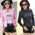 Size S-L Spring Autumn Women Fashion Motorcycle Faux Leather Bodycon Short Coats Female Slim PU Jackets Outwear