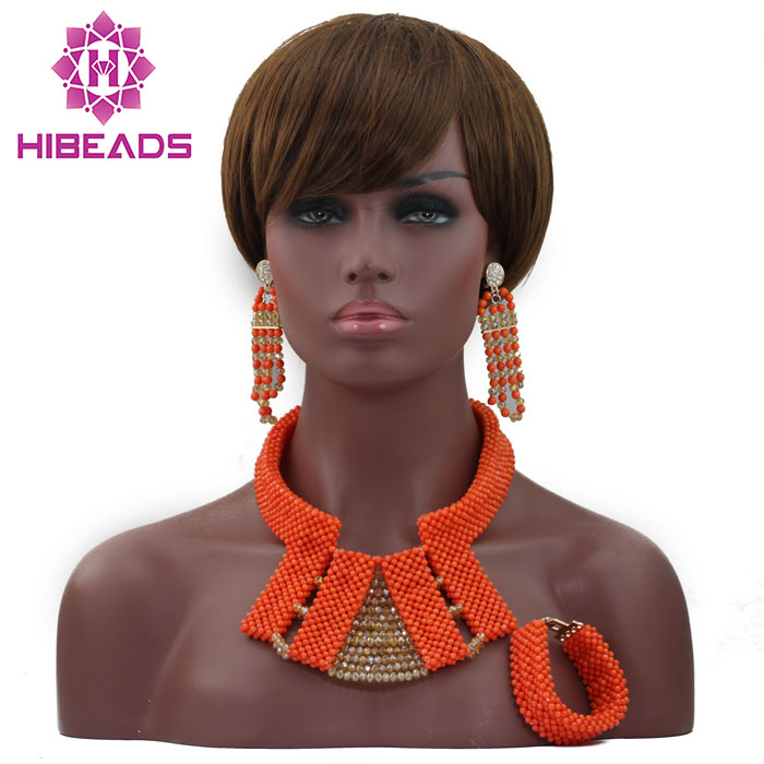 New Elegant Dubai Bridal Gold Beads Chunky Jewelry Set Indian Wedding African Coral Beads Necklace Jewelry Free Shipping ABL597