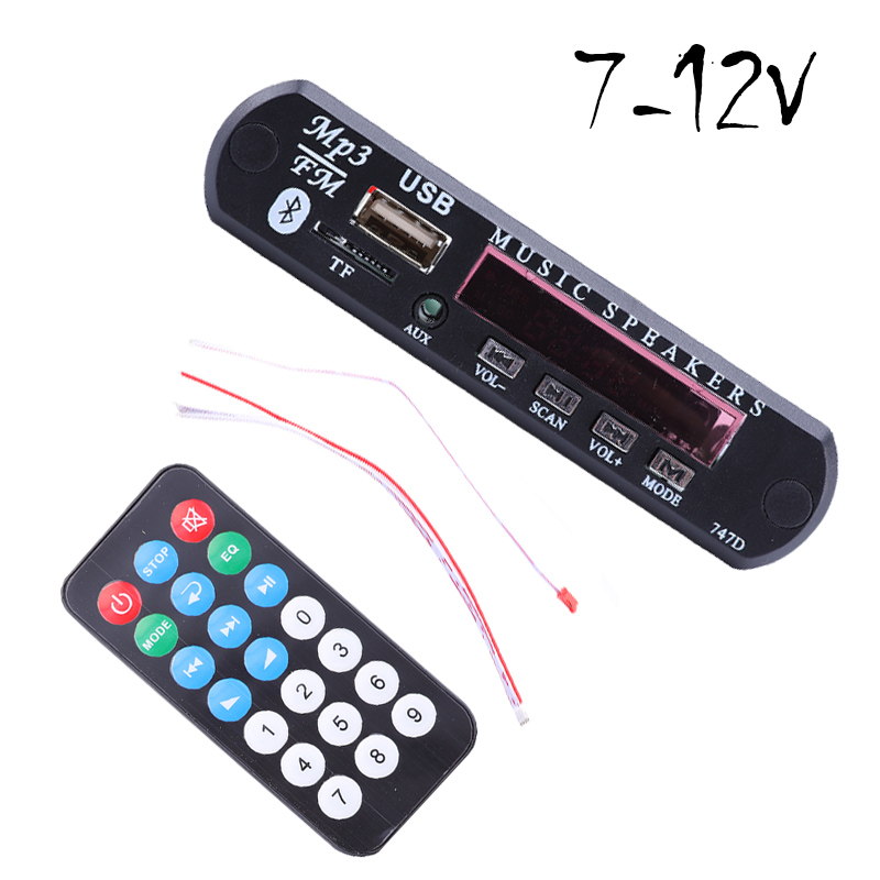 7-12V Car USB Bluetooth MP3 WMA FM AUX Decoder Board Audio Module Support TF SD Card Decoder Board with Remote Control For Car