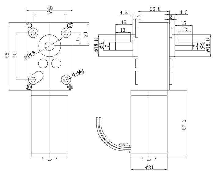 GW4058-31ZY Double Shaft DC Motor 12V/24V 110rpm/220rpm Reduction Motor Worm Gear Gear Box Motor