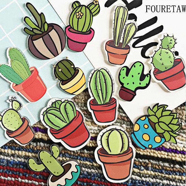 Cactus and Succulents Shape Fridge Magnet Sticker