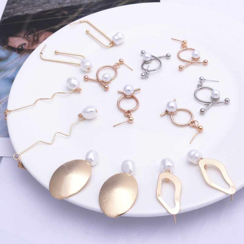EK575 European Geometric Irregular Metal Imitation Pearl Drop Earrings for Women Jewelry Punk Simple Statement Mujer Pendientes