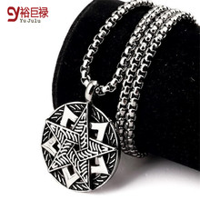 No Fade Women Titanium Star Pendant Iced Out Vintage Silver Long Necklace Chain Hip Hop for men Fashion Jewelry