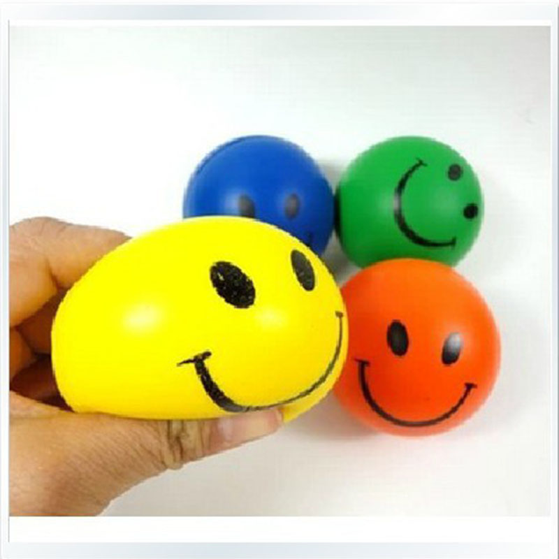 Childrens 6.3CM Stress Ball Novetly Smile Face Print Squeeze ball Stress Relief Toy Antistress Ball kids boy/girls gifts ...