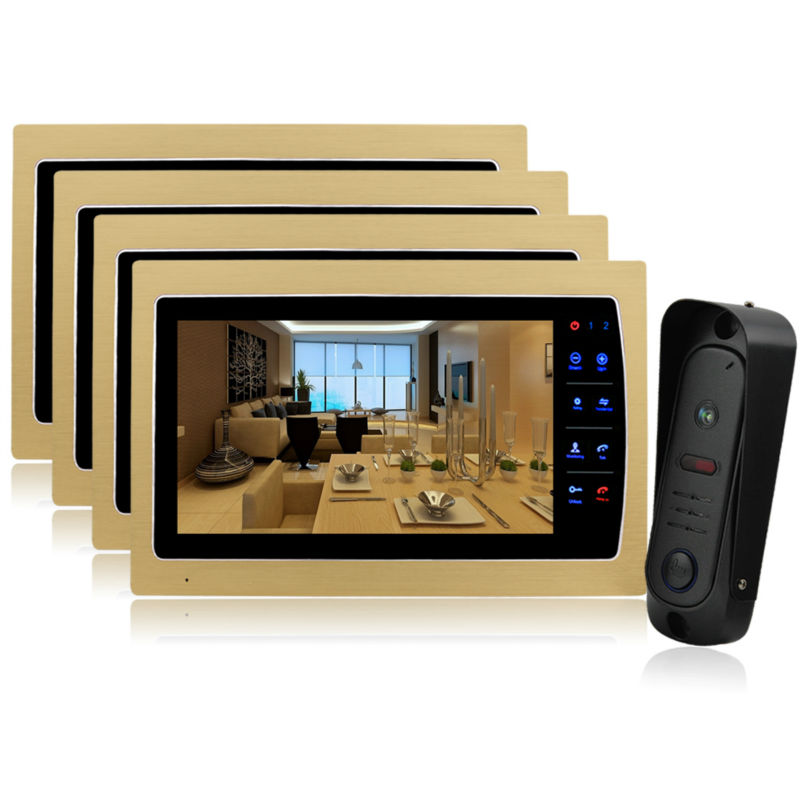 Homefong 10 TFT Video Door Phone Doorbell Home Security Entry Intercom System 4 monitor 1 outdoor camera  CMOS sensor 1200 TVL door intercom video cam doorbell door bell with 4 inch tft color monitor 1200tvl camera
