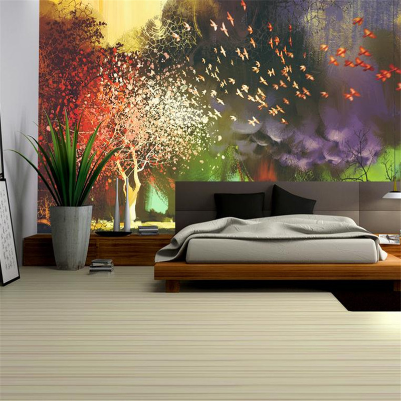 3d effect modern custom photo wallpaper large  hands painting wall mural mysterious fantastic bird trees background wallpaper iarts aha072962 hand painted thick texture of knife painting trees oil painting red 60 x 40cm