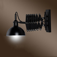 Retro loft flexible wall lamp vintage iron stretching wall sconce E27 bedside bedroom living room office study cafe bar light