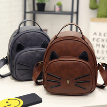 42bf3fa8ac5 Kawaii Cute Cat Ear Vintage Small Animal Backpack Black Preppy Style School  Backpacks For Teenage Girls College Casual Backpack