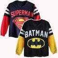 1-7A Batman Superman Meninos Crianças Tops T Dos Desenhos Animados Camisetas de Manga Longa Hoodies meninos camisola com capuz hoodies para crianças 2016