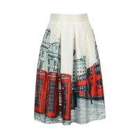 Zijde Mode Rok Stad Landschap Gedrukt Elastische Hoge Taille A-lijn Midi Knielange Effen Kleur Zomer Stijl Vintage Rok