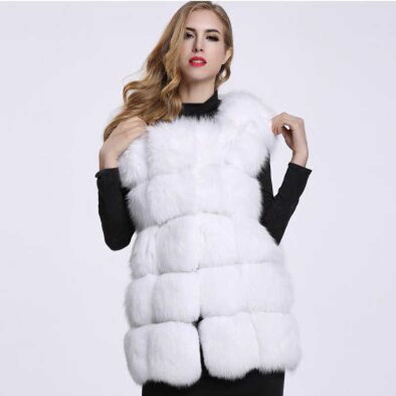 2018 del otoño mujeres calientes de la manera del invierno abrigo de piel chalecos de alta calidad Faux piel de zorro abrigo de piel largo chaleco chaqueta de las mujeres