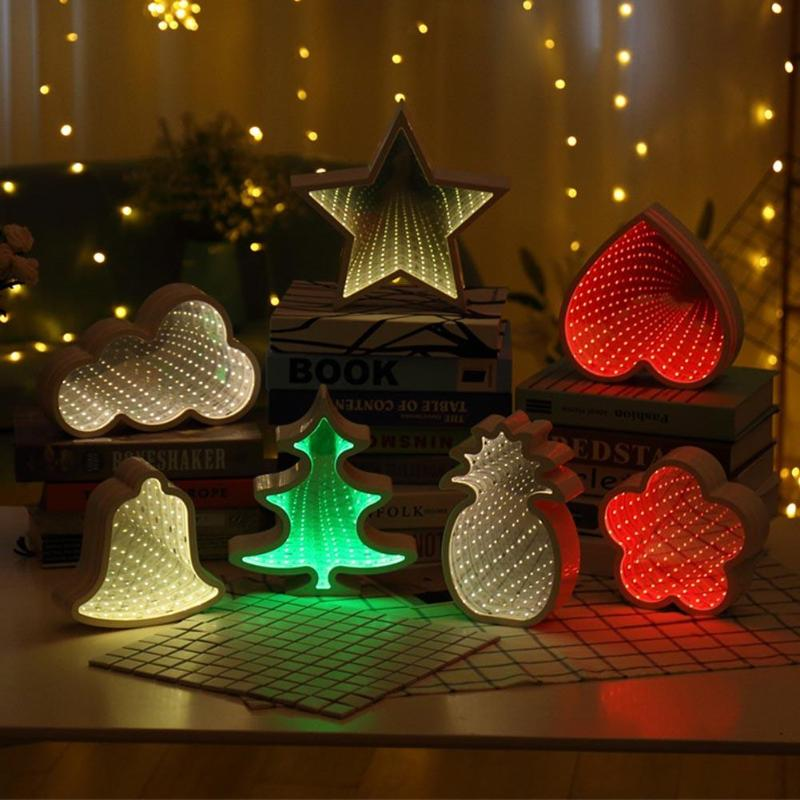 Novelty LED Tunnel White Night Light Heart Star Cloud Pineapple Shape Cosmetic Mirror Abyss Effect Gift Decoration For Christmas