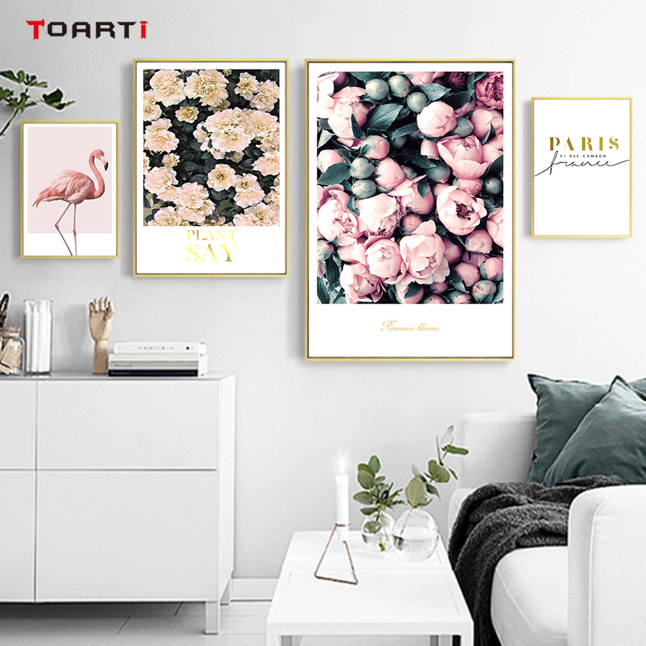 Modern Flowers Canvas Painting On The Wall Romantic Blooms Posters Prints Pink Flamingo Decorative Pictures For Living Room Home (1)