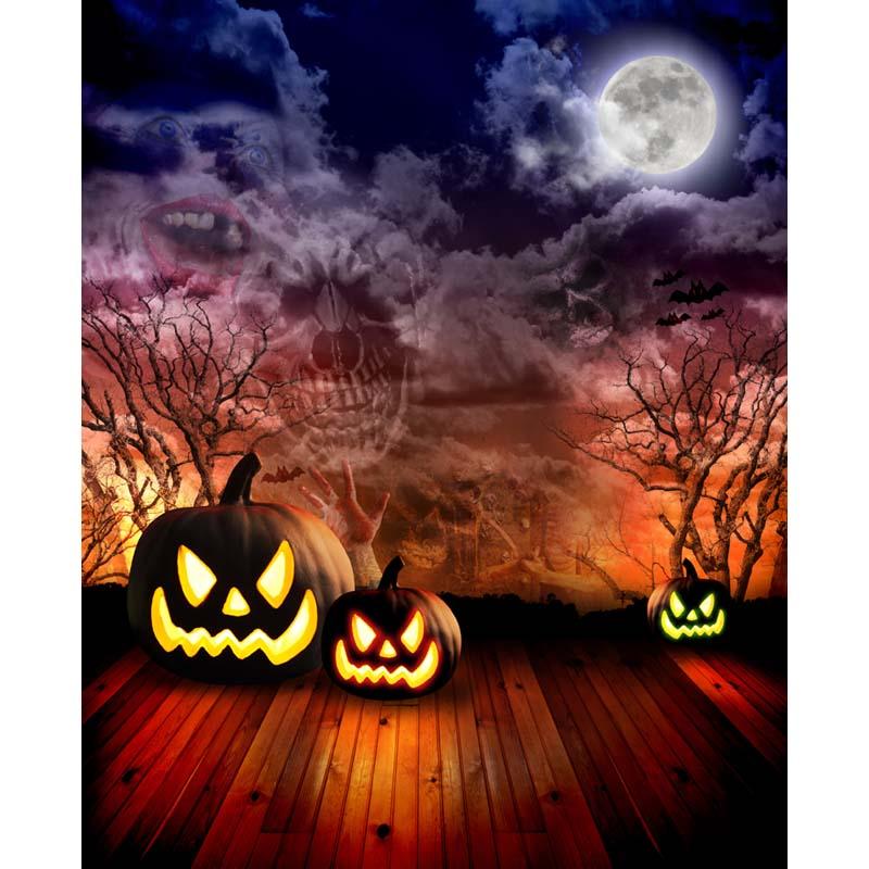 Custom vinyl cloth horror Halloween pumpkin party photography backdrops for children portrait backgrounds props HA-202 plastic standing human skeleton life size for horror hunted house halloween decoration