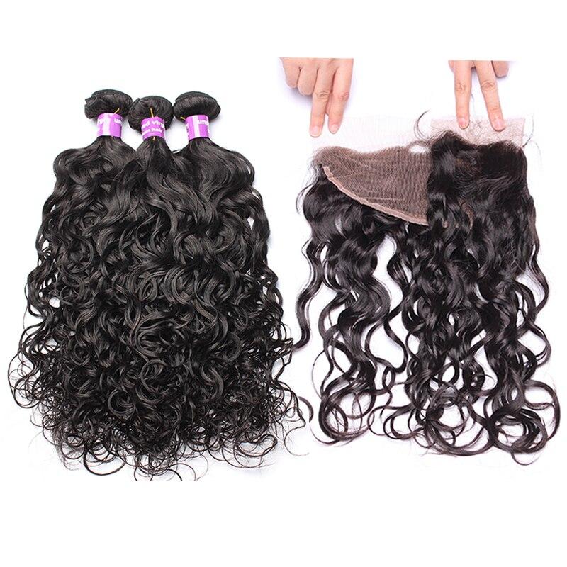 Water Wave Bundles With Frontal 4 Pcs 3 Brazilian Hair Weave Bundles With Closure 13x4 Lace Frontal Closure With Bundles CARA