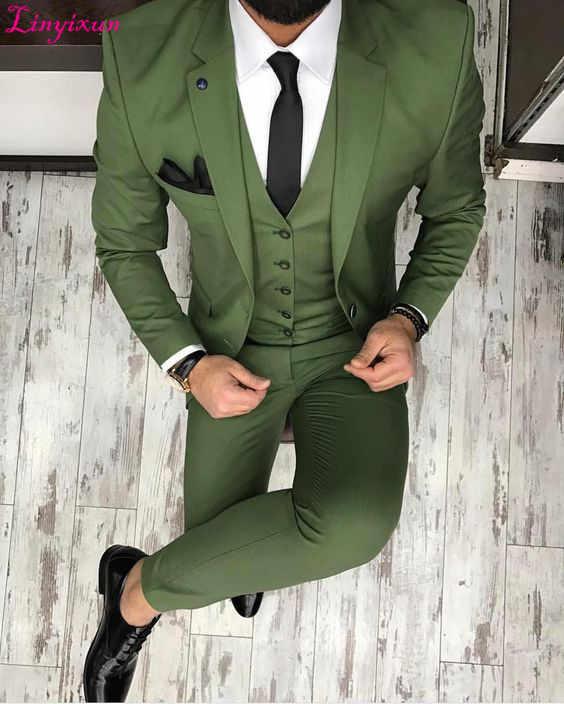 Linyixun 2017最新コートパンツデザイングリーン男性スーツスリムフィットスキニータキシードカスタム新郎ブレザーウエディングパーティースーツterno masculin