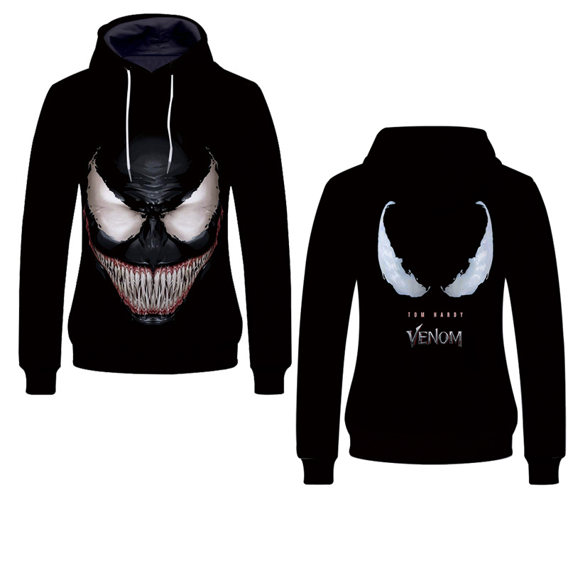 Fans Wear Venomous Unisex Pullover Hoodie Sweatshirt Anime Marvel Movie Spiderman 3d Printed for Cosplay