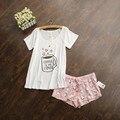 Lindo pijamas con blanco y rosa/gris y verde de color tazas de café impresa mujeres pijama establece venta caliente