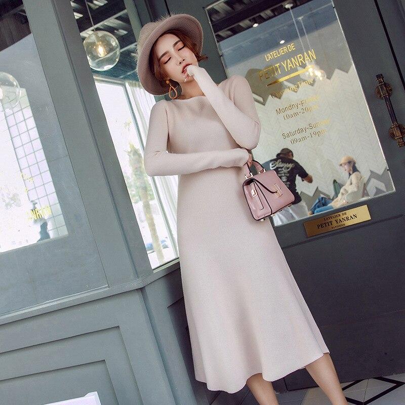 O Marque Nouveau Femelle De Robe apricot Sexy Arrivée S 2017 gray Femmes cou Brève Élégant ligne D'hiver A l Vêtements Tricot Mince Black caramel Longue Solide K1lJcF