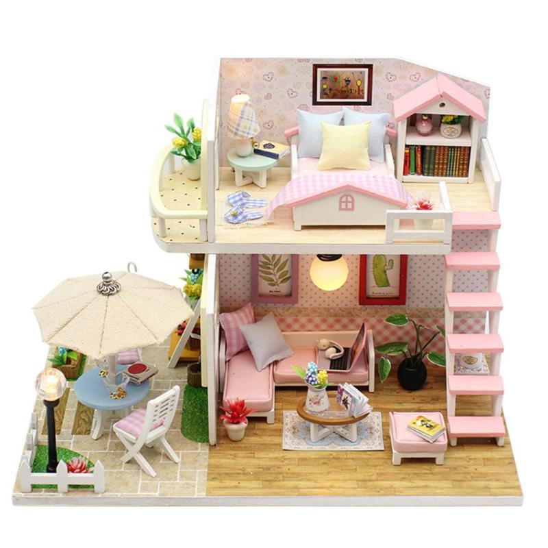 Handmade Wood Flash Loft Hut DIY House Toy Miniature