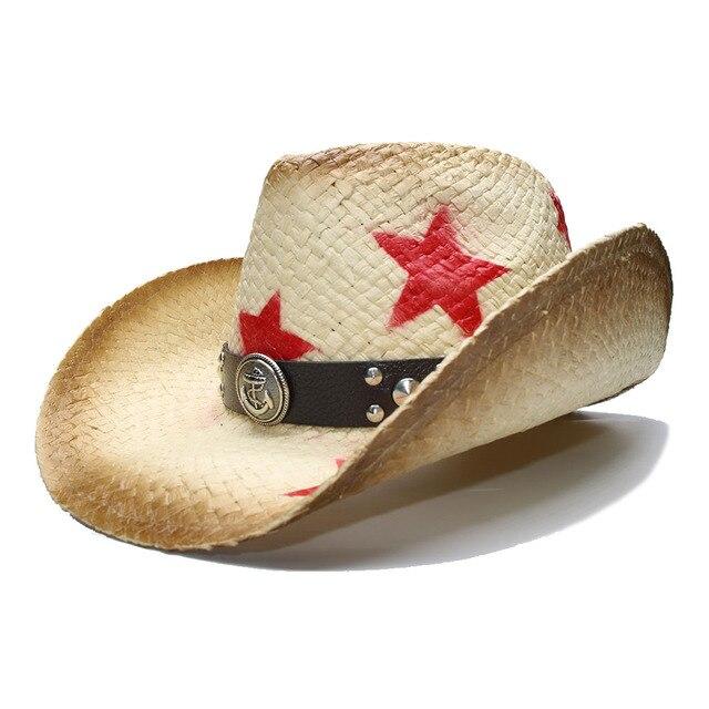 c286a80db6a501 LUCKYLIANJI Retro Summer Women Men's Wide Brim Straw Beach Cowboy Cowgirl  Western Hat Five-pointed