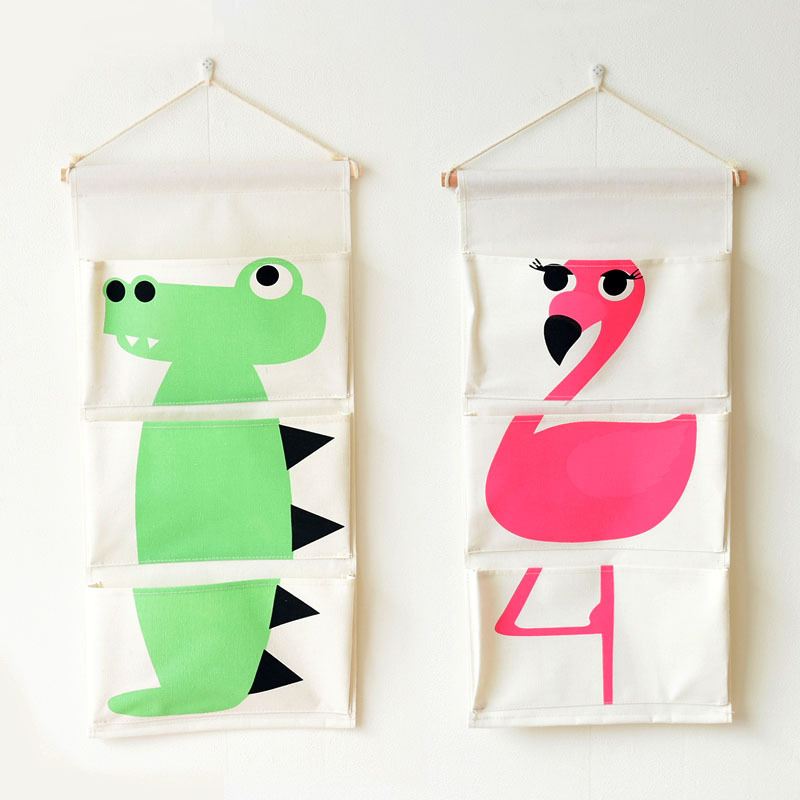 cartoon animal flamingo door hanging bag storage organizer home wall pockets for kids room hanging