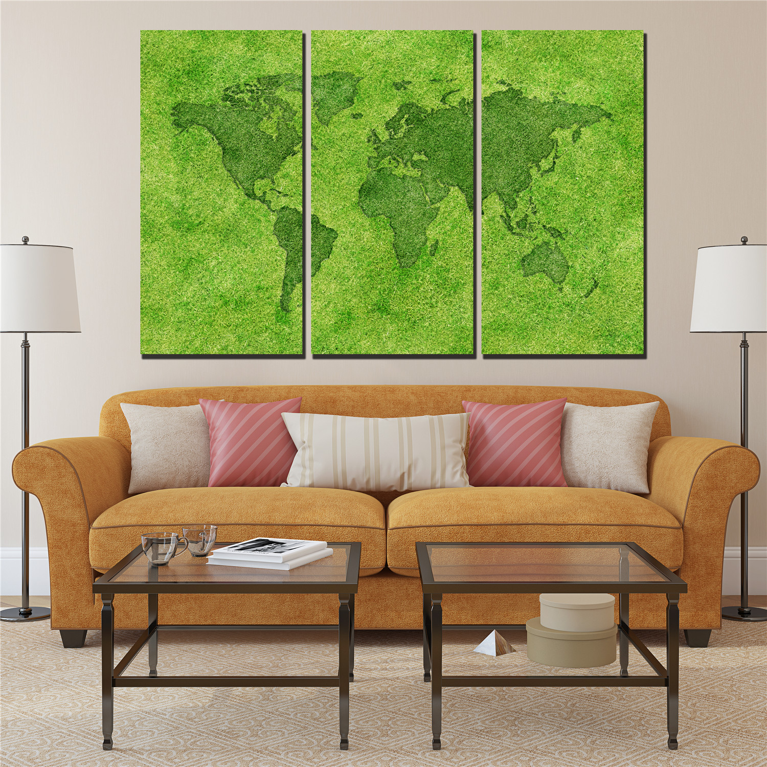 green world map poster prints on canvas painting 3 panels ...