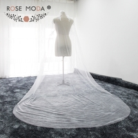Rose Moda High Quality 300cm 500cm Cathedral Veil with Lace Soft Tulle Bridal Veils White Ivory 3M with Comb
