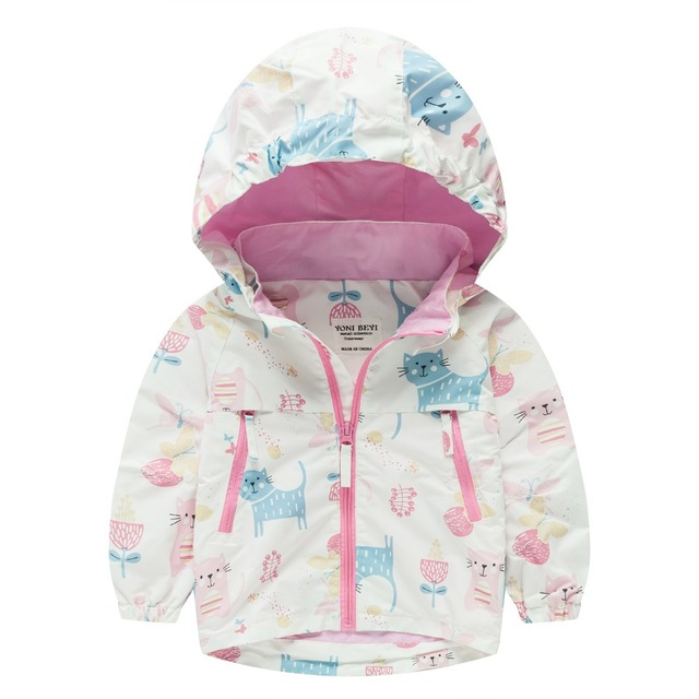 a7287d1ab TYY-02 Autumn Winter Fashion CAT Cartoon Coat Hoodie Child Jacket Girls Tops  Windbreaker cute Print Thin Coat Summer Thin Jacket