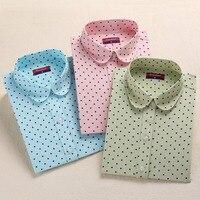 Brand New Cotton Women Shirts Long Sleeve Blouse Polka Dot Blusas Femininas 5XL Plus Size Turn Down Collar Women Tops 2016