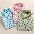 Nova marca Das Mulheres Camisas de Algodão de Manga Comprida Blusa de Bolinhas Blusas Femininas 5XL Plus Size Turn Down Collar Mulheres Tops 2016