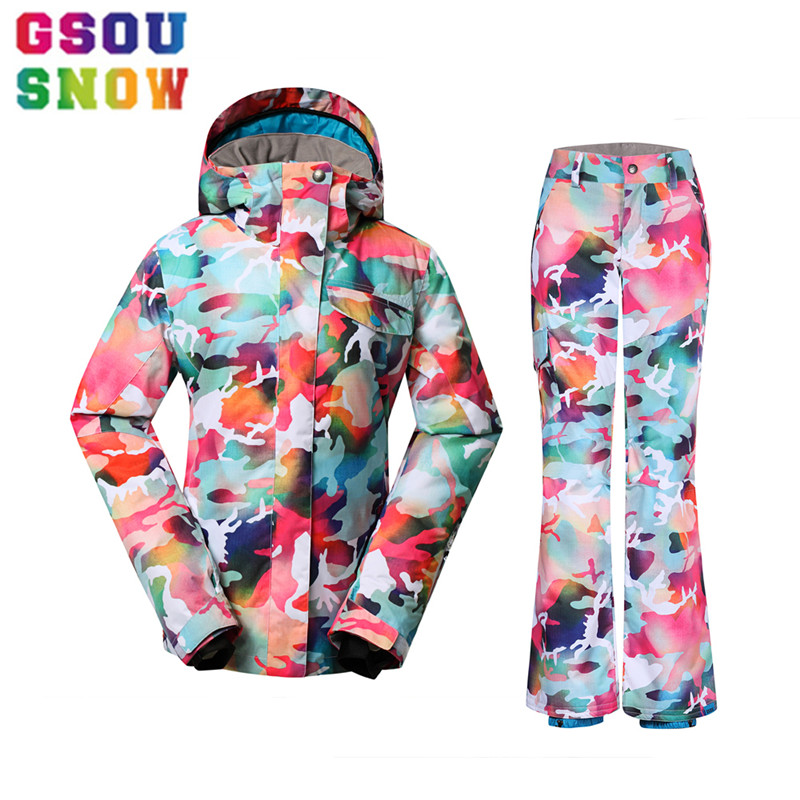 Gsou Snow 2017 Winter Women's Ski Suits Cheap Camouflage Snowboard Sets Outdoor Camo Jacket Warmth Pants Colorful