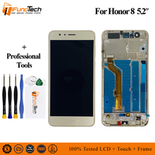 цена на For Huawei Honor 8 LCD Display touch screen Digitizer Assembly For Huawei Honor 8 FRD-L19 FRD-L09 5.2 inch Frame