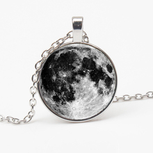 NewRetro Galaxy Moon Pattern Necklace Surface Glass Fashion Pendant Lady Long Jewelry gift Party Souvenir