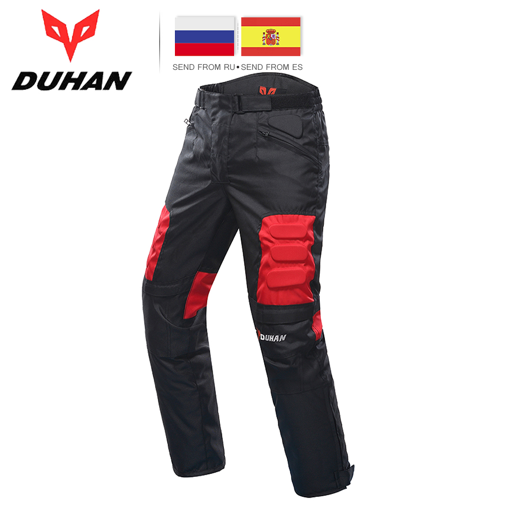 DUHAN Motorcycle Pants Riding Road Moto Pants Trousers Racing Pantalon Windproof Motobike Pants with Knee Pads Guards DK 02