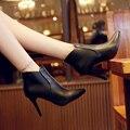 Pontas do dedo do pé alto-salto alto mulheres sapatos de outono sensuais saltos finos botas de couro bombas 2017 sexy lady moda